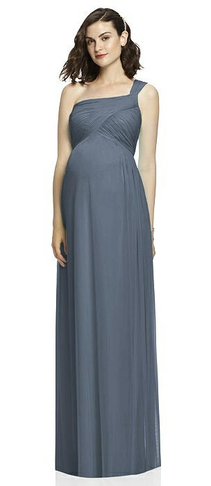 One-Shoulder Asymmetrical Draped Wrap Maternity Dress