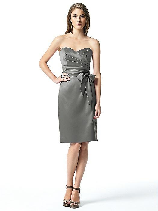 Strapless Bowed-Waist Satin Cocktail Dress On Sale