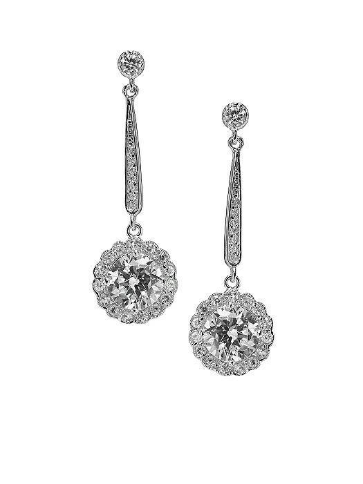 Drop Flower CZ Solitaire Earrings