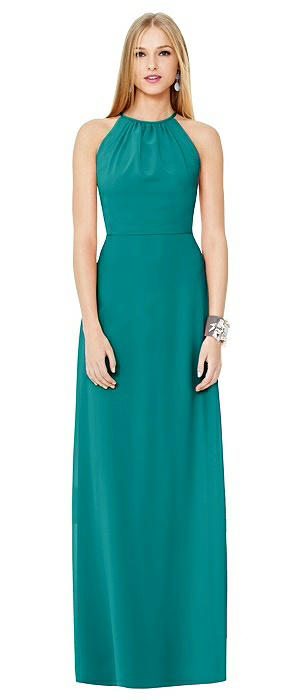 Open-Back Shirred Halter Dress