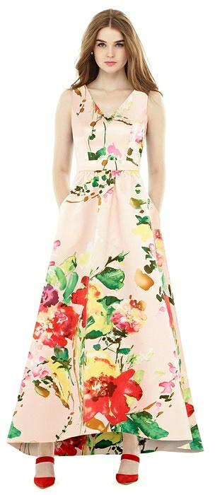 Floral Sleeveless High Low Dress with Pockets