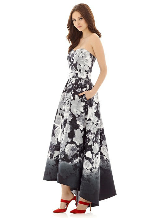 Floral Strapless Satin High Low Dress with Pockets On Sale