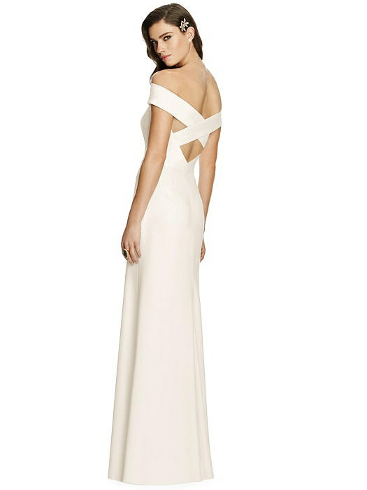 Off-the-Shoulder Straight Neck Dress with Criss Cross Back On Sale