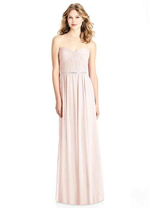 Strapless Pleated Bodice Dress with Jeweled Belt On Sale