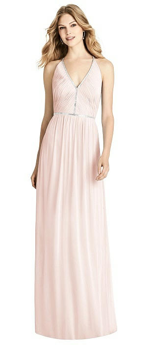 Jeweled-Trimmed Open-Back Shirred Maxi Dress On Sale