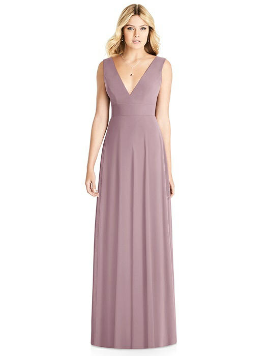 Sleeveless Deep V-Neck Open-Back Dress On Sale