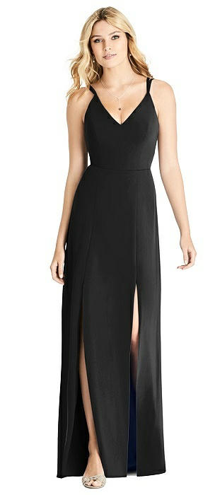 Dual Spaghetti Strap Crepe Dress with Front Slits