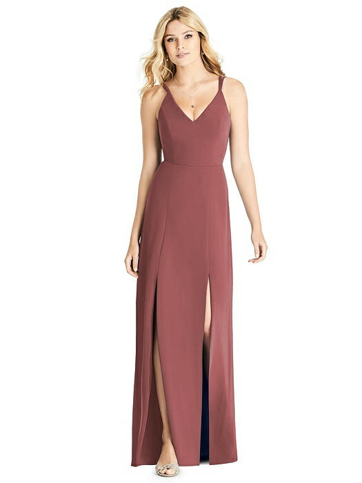 Dual Spaghetti Strap Crepe Dress with Front Slits On Sale