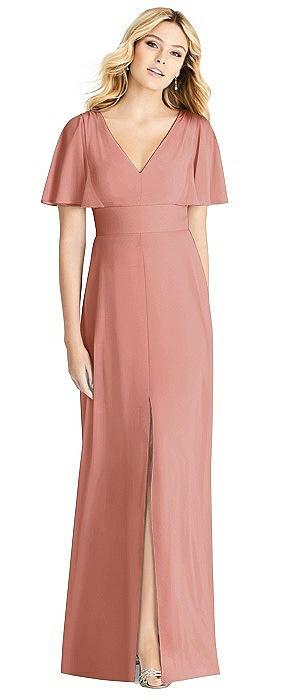 Split Ruffle Sleeve V-neck Dress with Front Slit On Sale