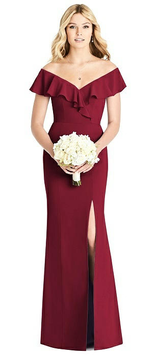 Off-the-Shoulder Draped Ruffle Faux Wrap Trumpet Gown