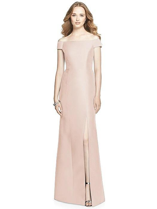Off-the-Shoulder Criss Cross Back Satin Dress On Sale