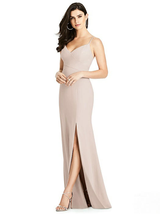 Seamed Bodice Crepe Trumpet Gown with Front Slit On Sale