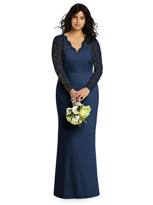 Long Sleeve Illusion-Back Lace Trumpet Gown On Sale