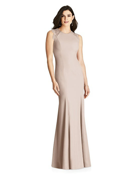 Sleeveless Lace Back Trumpet Gown On Sale