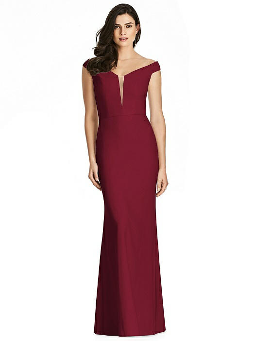 Off-the-Shoulder Deep Notch Trumpet Gown On Sale