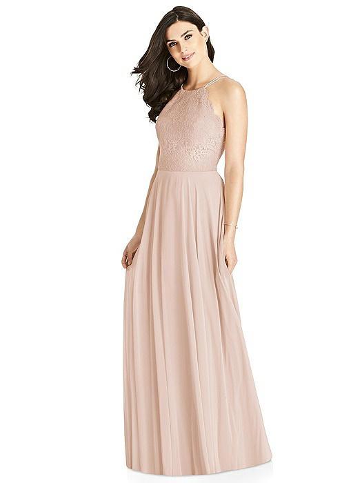 Lace Bodice Halter Maxi Dress On Sale