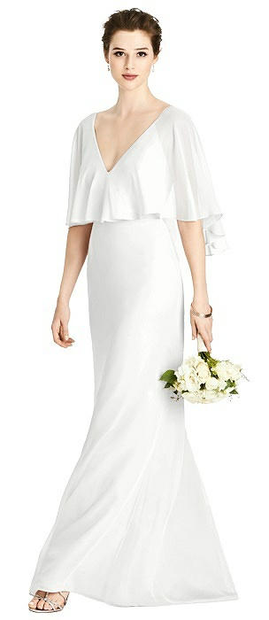 V-Back Trumpet Gown with Draped Cape Overlay
