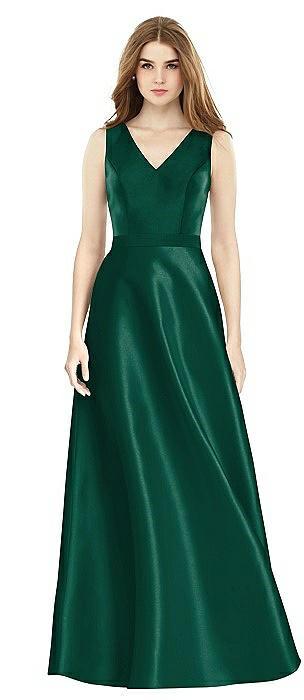 Sleeveless A-Line Satin Dress with Pockets