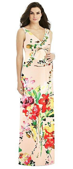 Sleeveless Floral Maternity Dress