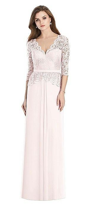 Long Sleeve Illusion-Back Lace Peplum Maxi Dress