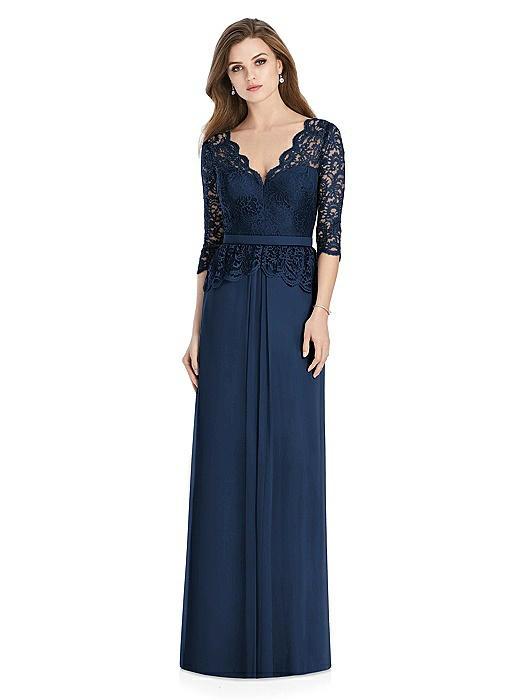 Long Sleeve Illusion-Back Lace Peplum Maxi Dress On Sale