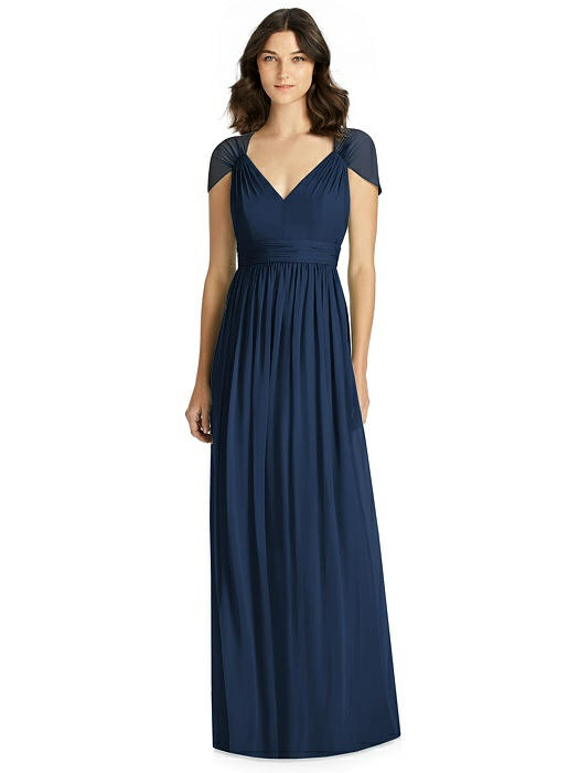 Cap Sleeve Cutout Illusion-Back Dress On Sale