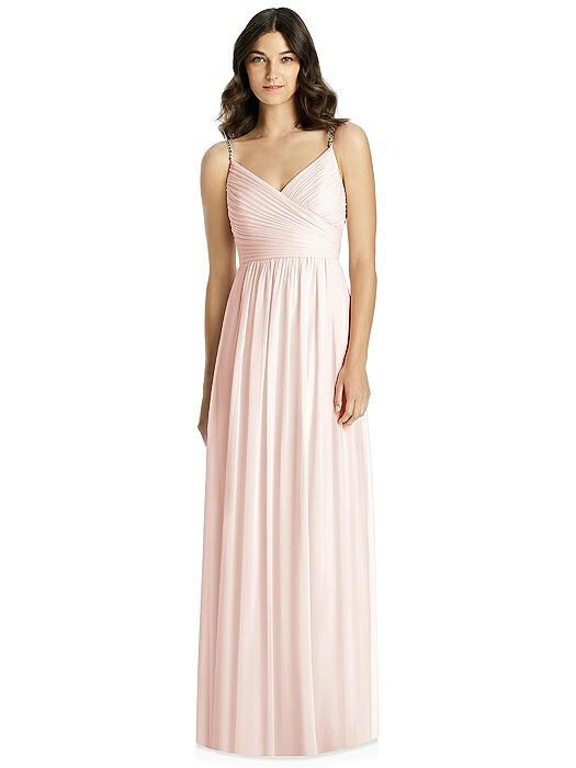 Jeweled Strap Shirred Wrap Maxi Dress On Sale