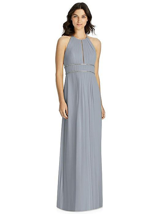 Keyhole Jewel-Trimmed Waist Halter Dress On Sale