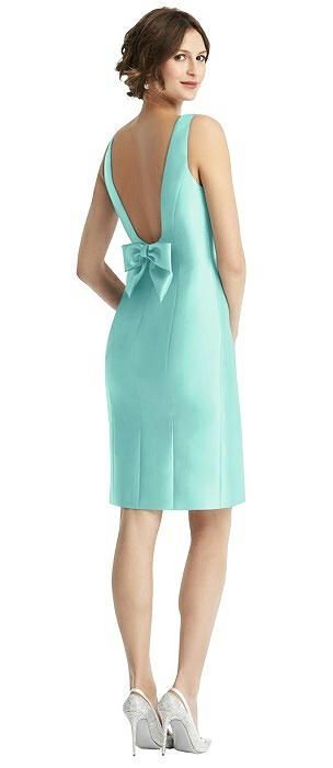 Bow Open-Back Satin Cocktail Dress with Front Slit