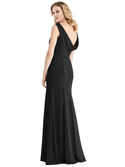 Sleeveless Cowl-Back Trumpet Gown On Sale