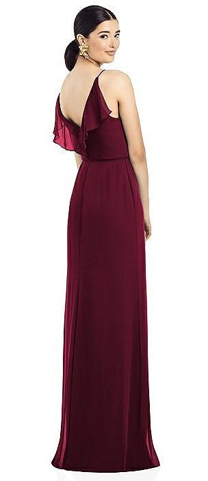 Ruffled Back Chiffon Dress with Jeweled Sash