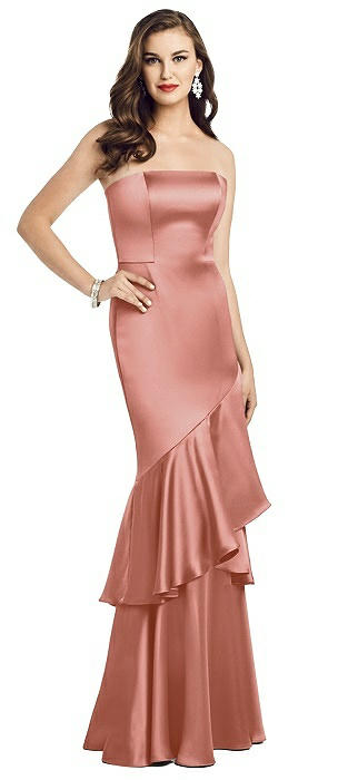 Strapless Tiered Ruffle Trumpet Gown