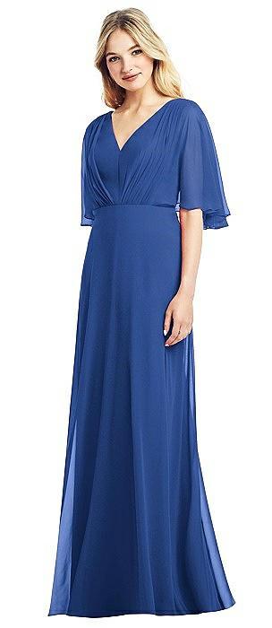 Long Flutter Sleeve Chiffon Dress with Pleat Detail