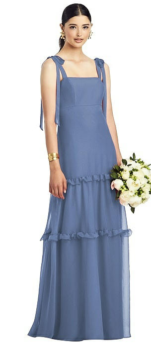 Bowed Strap Crinkle Chiffon Gown with Tiered Ruffle Skirt