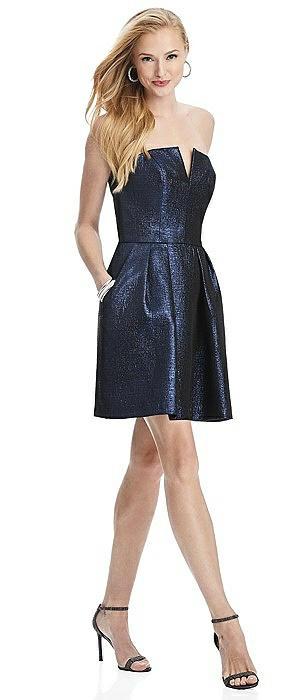 Metallic Strapless Notch Cocktail Dress with Pockets