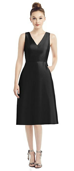 Sleeveless V-Neck Satin Midi Dress with Pockets