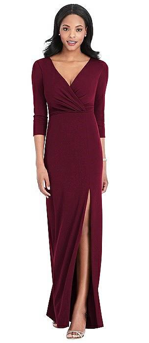3/4 Sleeve V-Back Draped Wrap Maxi Dress - Yara
