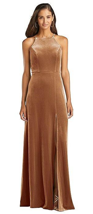 Velvet Halter Maxi Dress with Front Slit - Harper