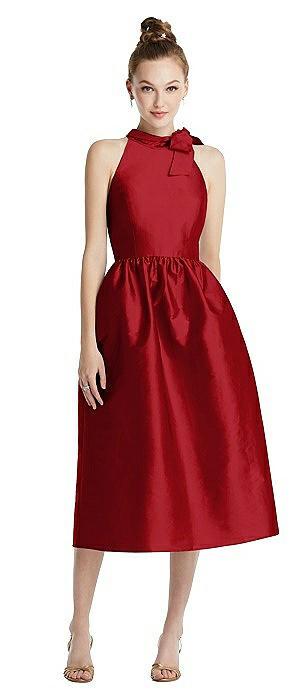 Bowed High-Neck Full Skirt Midi Dress with Pockets