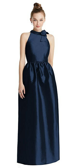Bowed High-Neck Full Skirt Maxi Dress with Pockets