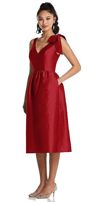 Bowed-Shoulder Full Skirt Midi Dress with Pockets