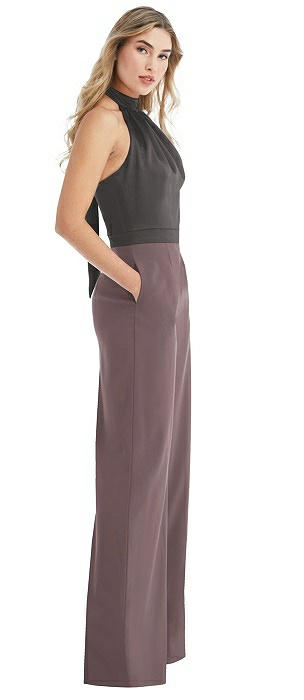 High-Neck Open-Back Jumpsuit with Scarf Tie