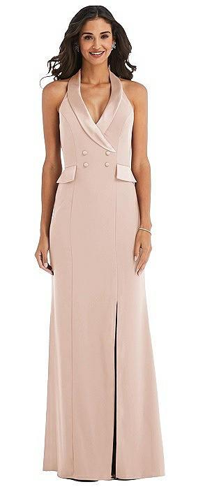 Halter Tuxedo Maxi Dress with Front Slit