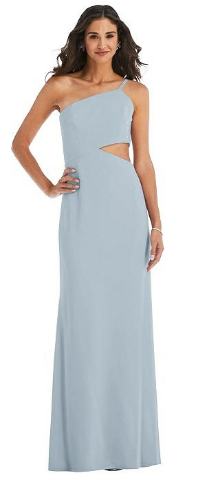 One-Shoulder Midriff Cutout Maxi Dress