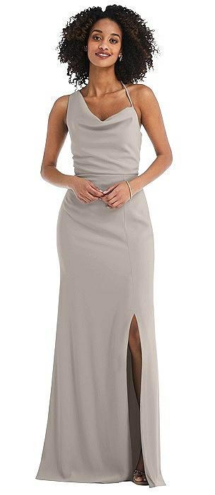 One-Shoulder Draped Cowl-Neck Maxi Dress