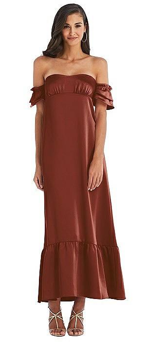 Ruffled Off-the-Shoulder Tiered Cuff Sleeve Midi Dress