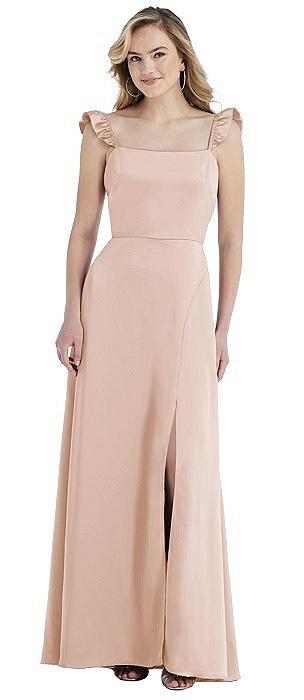 Ruffled Sleeve Tie-Back Maxi Dress