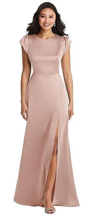 Shirred Cap Sleeve Maxi Dress with Keyhole Cutout Back
