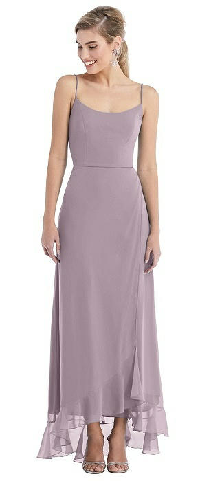 Scoop Neck Ruffle-Trimmed High Low Maxi Dress
