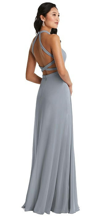 Stand Collar Halter Maxi Dress with Criss Cross Open-Back